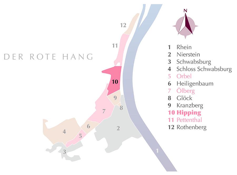 Die Weinlage Hipping am Roten Hang